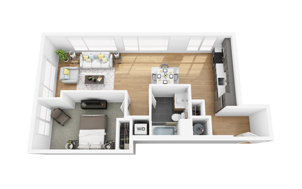 Eco A1 - 1 bedroom floorplan layout with 1 bath and 736 square feet.