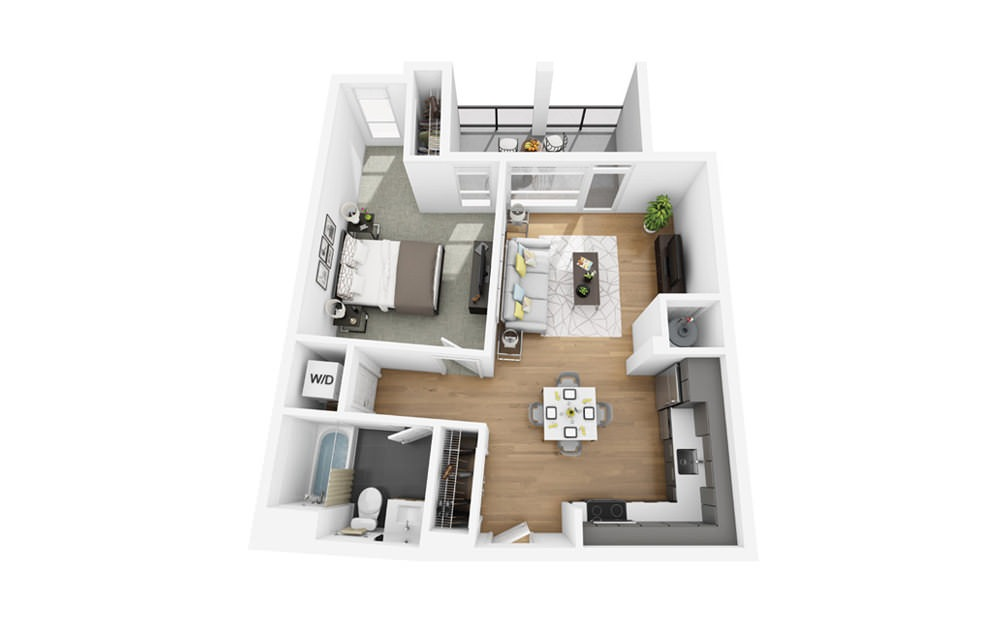 Eco A10 - 1 bedroom floorplan layout with 1 bath and 720 square feet.
