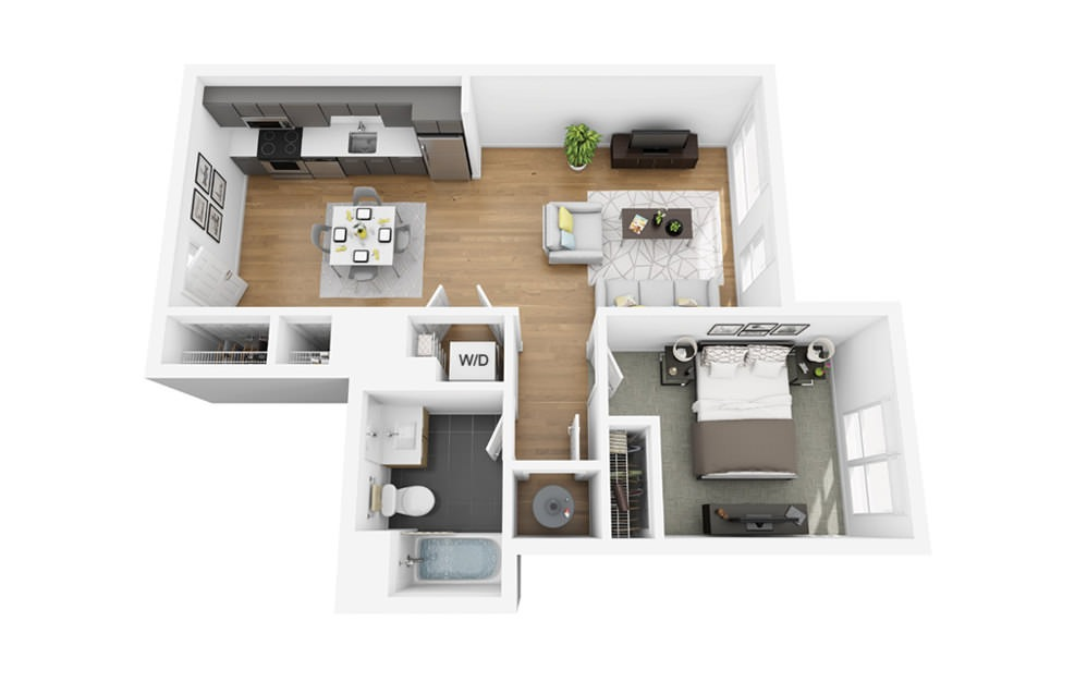 Eco A2 - 1 bedroom floorplan layout with 1 bath and 658 square feet.