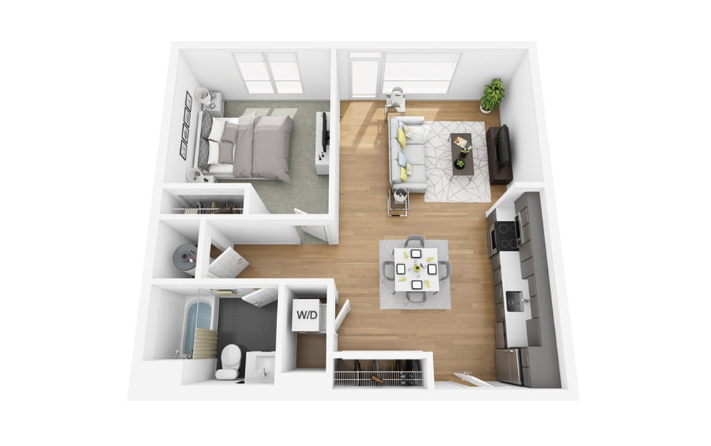 Eco A3 - 1 bedroom floorplan layout with 1 bath and 696 square feet.