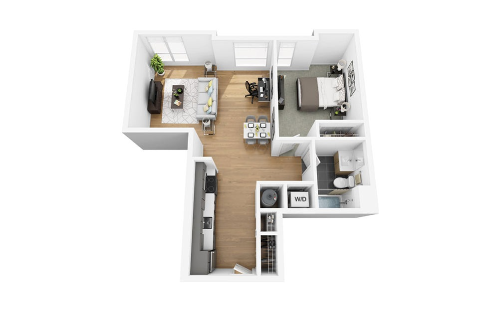 Eco A6 - 1 bedroom floorplan layout with 1 bath and 722 square feet.