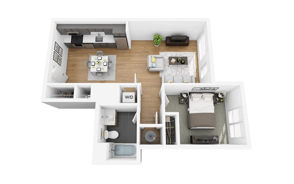 Eco A8 - 1 bedroom floorplan layout with 1 bath and 657 square feet.