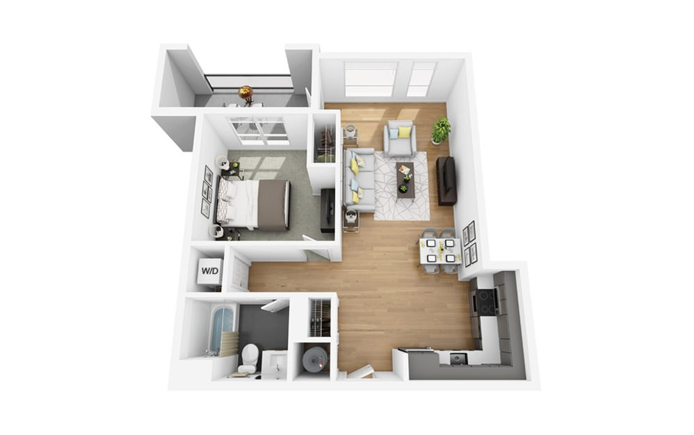 Eco A9 - 1 bedroom floorplan layout with 1 bath and 786 square feet.