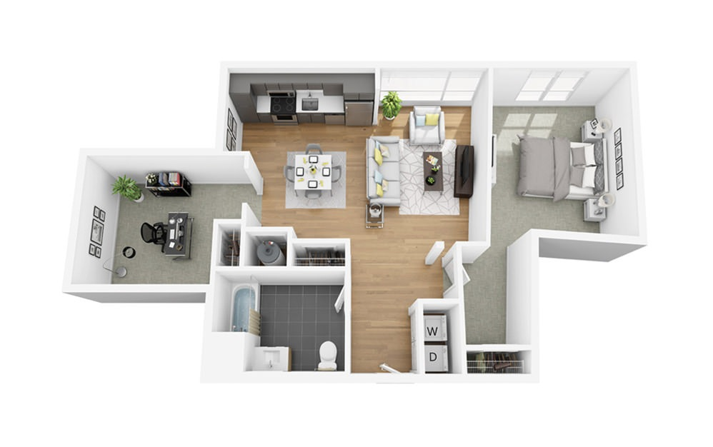 Eco B1 - 1 bedroom floorplan layout with 1 bath and 972 square feet.