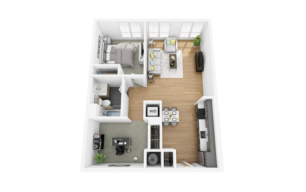 Eco B2 - 1 bedroom floorplan layout with 1 bath and 832 square feet.