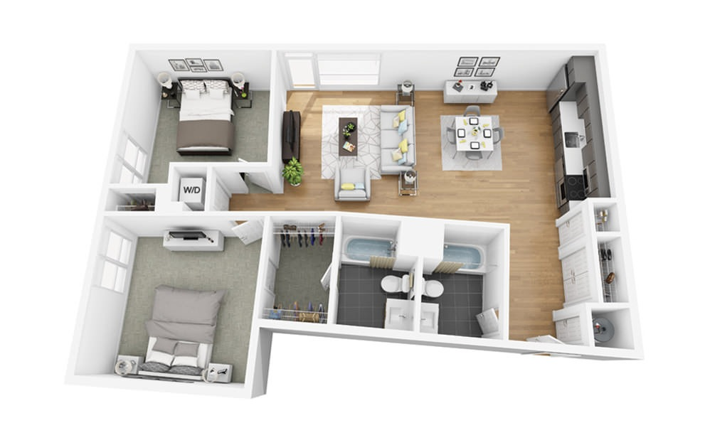 Eco C2 - 2 bedroom floorplan layout with 2 baths and 1114 square feet.