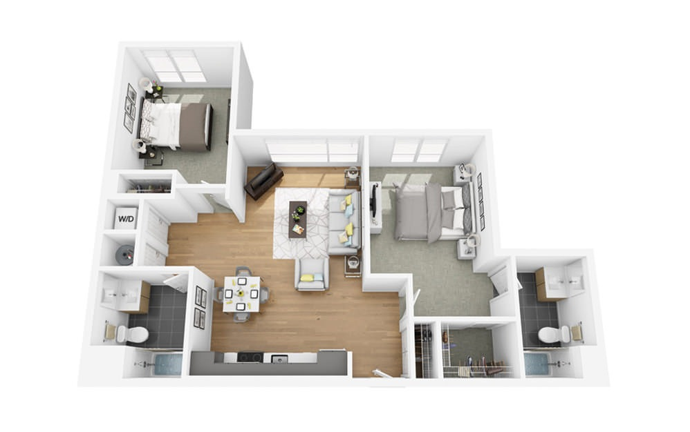 Eco C3 - 2 bedroom floorplan layout with 2 baths and 995 square feet.
