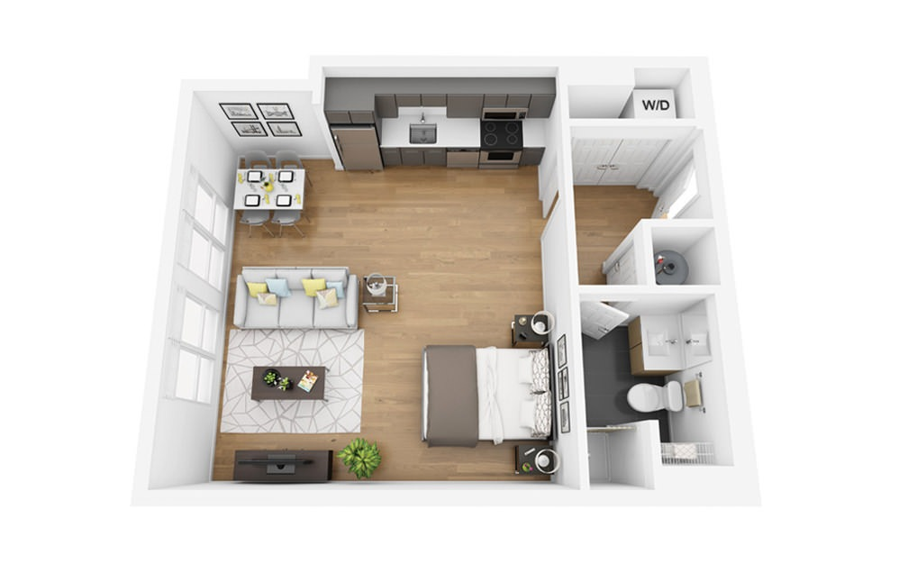 Eco S1 - Studio floorplan layout with 1 bath and 533 square feet.