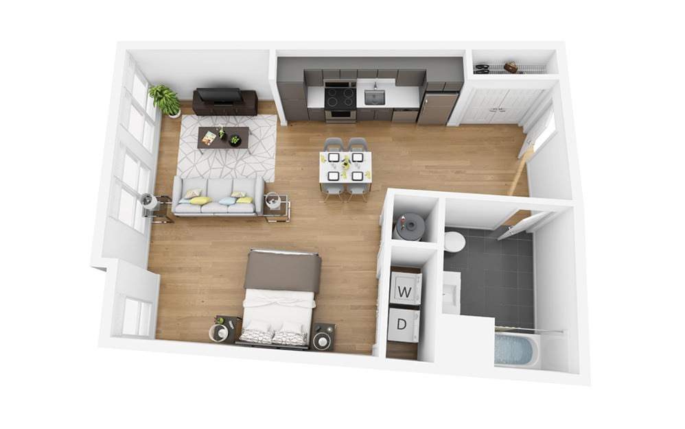 Eco S10 - Studio floorplan layout with 1 bath and 610 square feet.