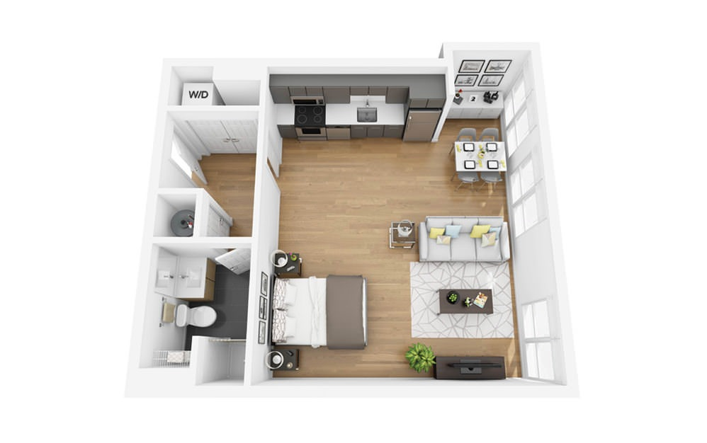 Eco S2 - Studio floorplan layout with 1 bath and 560 square feet.