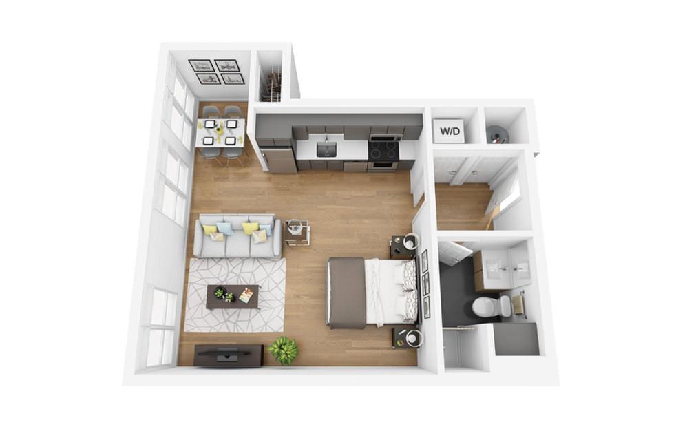 Eco S3 - Studio floorplan layout with 1 bath and 508 square feet.