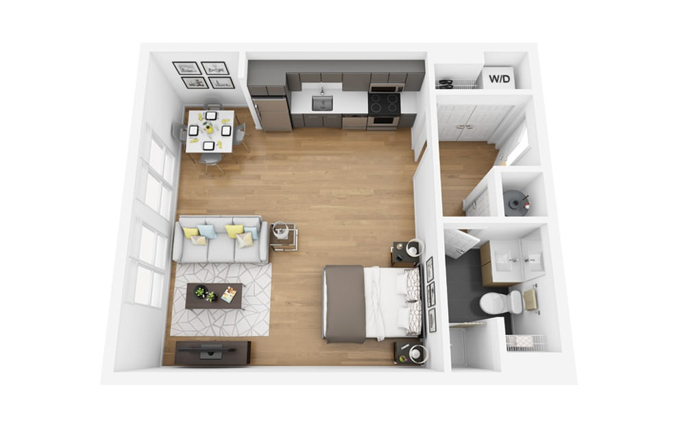 Eco S5 - Studio floorplan layout with 1 bath and 535 square feet.