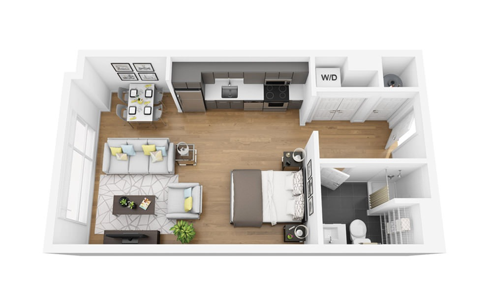 Eco S6 - Studio floorplan layout with 1 bath and 483 square feet.