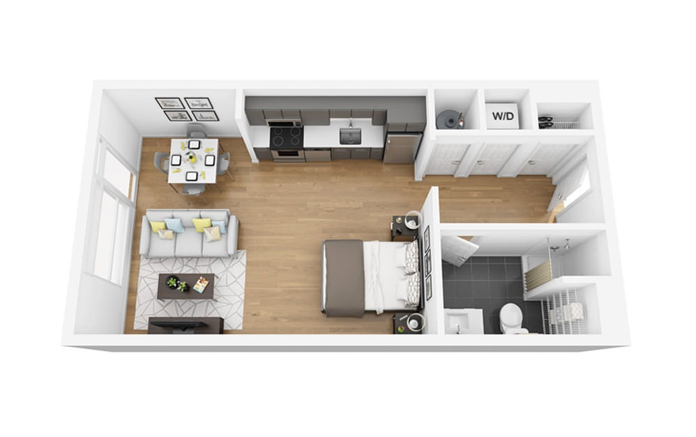 Eco S7A-B - Studio floorplan layout with 1 bath and 517 square feet.