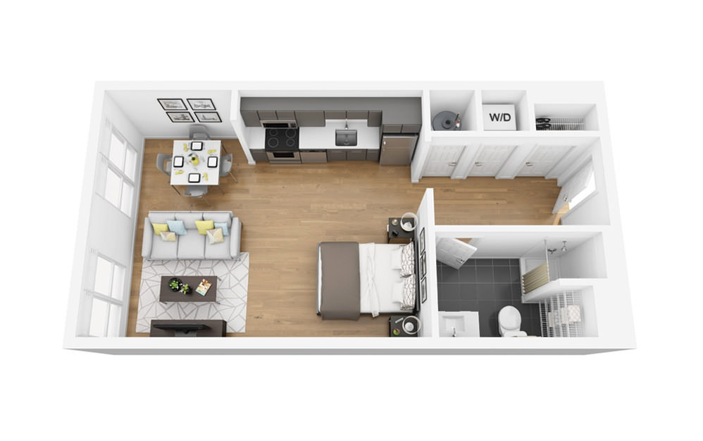 Eco S7C - Studio floorplan layout with 1 bath and 515 square feet.