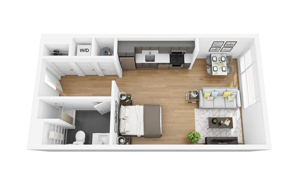 Eco S8 - Studio floorplan layout with 1 bath and 508 square feet.