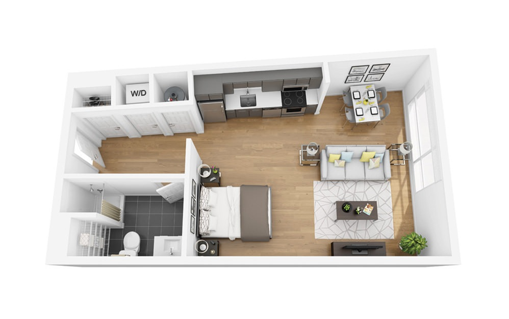 Eco S9 - Studio floorplan layout with 1 bath and 539 square feet.