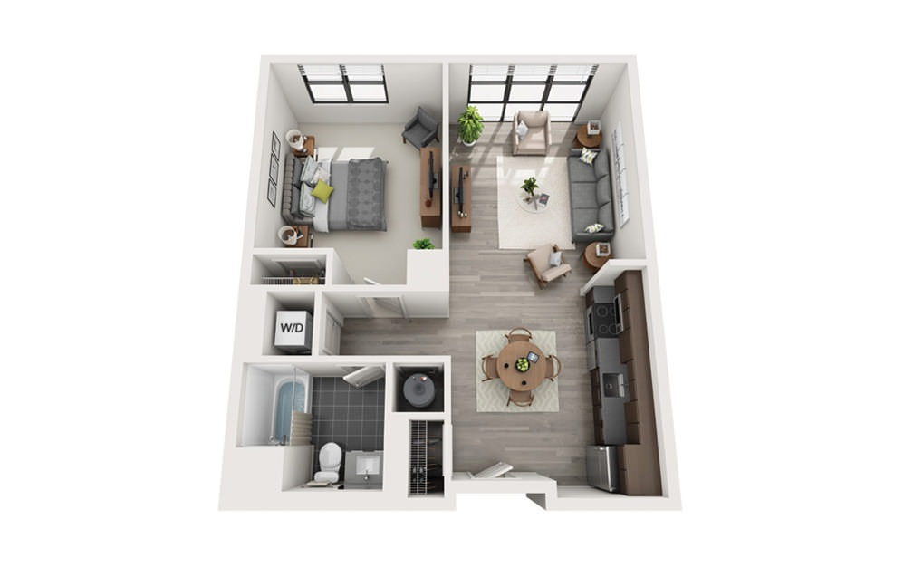 Edge A1 - 1 bedroom floorplan layout with 1 bath and 696 square feet.