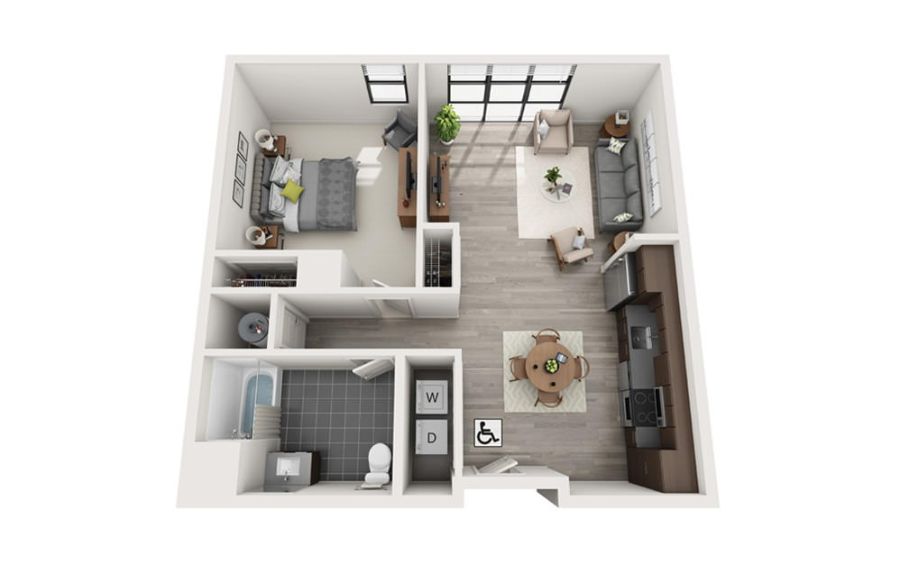 Edge A10 - 1 bedroom floorplan layout with 1 bath and 822 square feet.