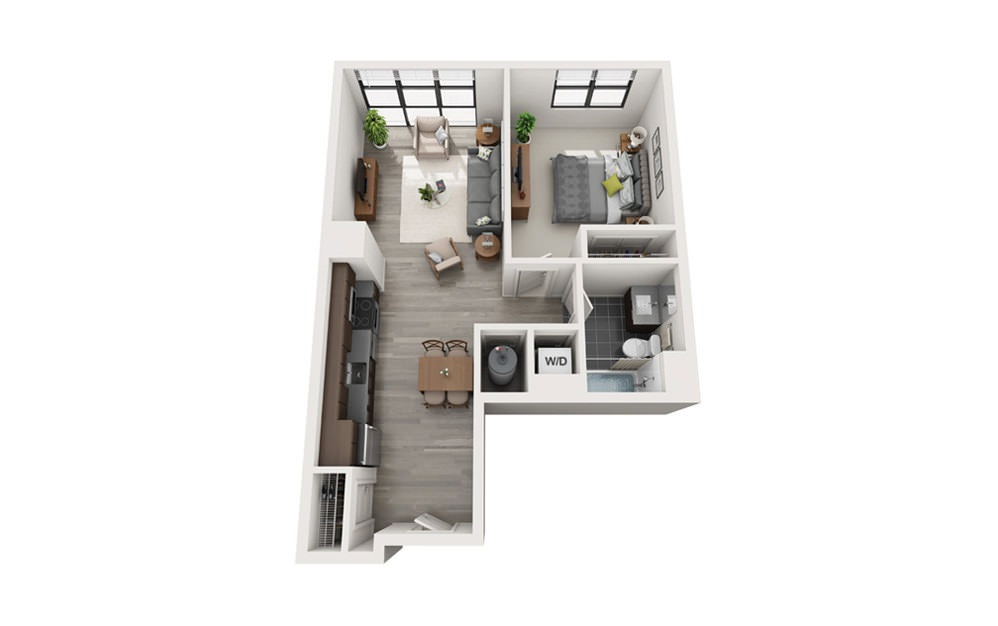 Edge A2 - 1 bedroom floorplan layout with 1 bath and 651 square feet.