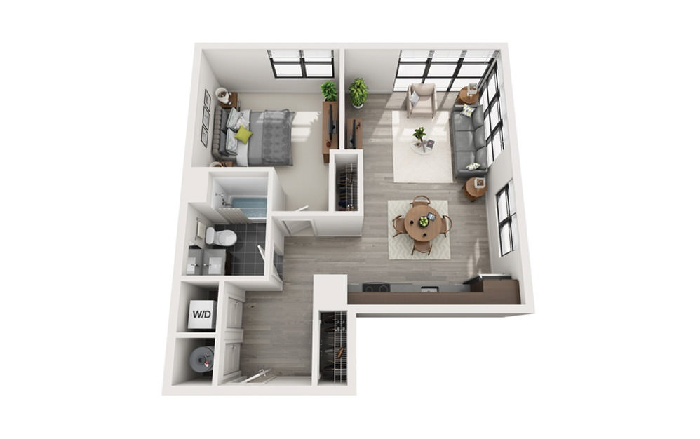 Edge A5 - 1 bedroom floorplan layout with 1 bath and 681 square feet.