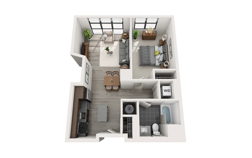 Edge A6 - 1 bedroom floorplan layout with 1 bath and 635 square feet.