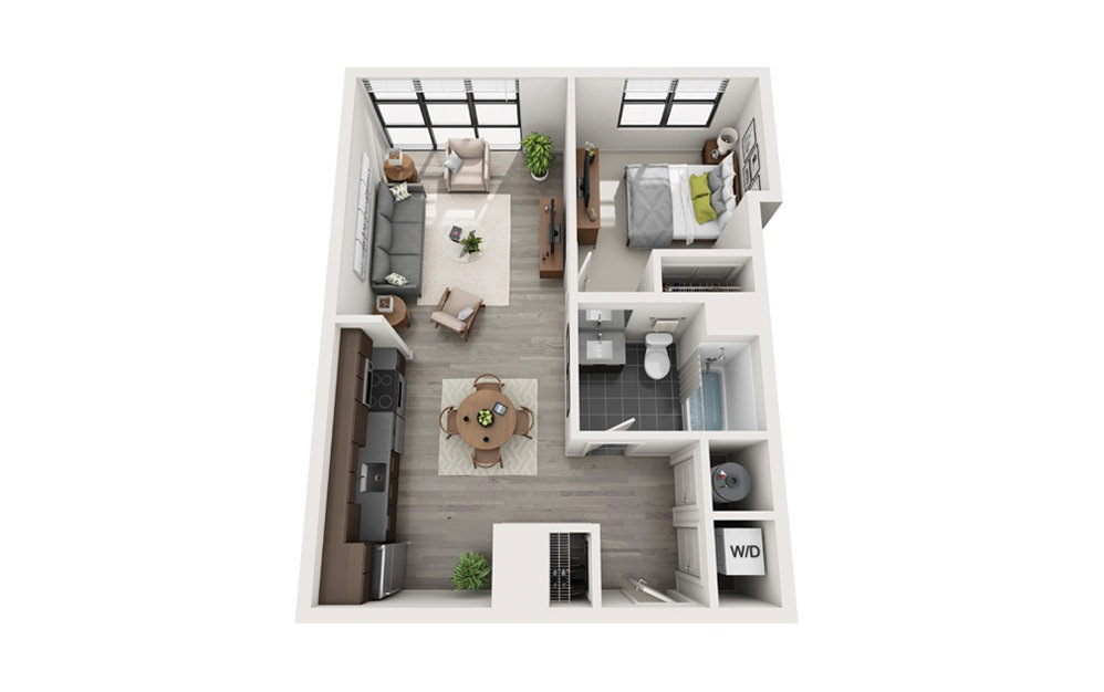 Edge A7 - 1 bedroom floorplan layout with 1 bath and 628 square feet.