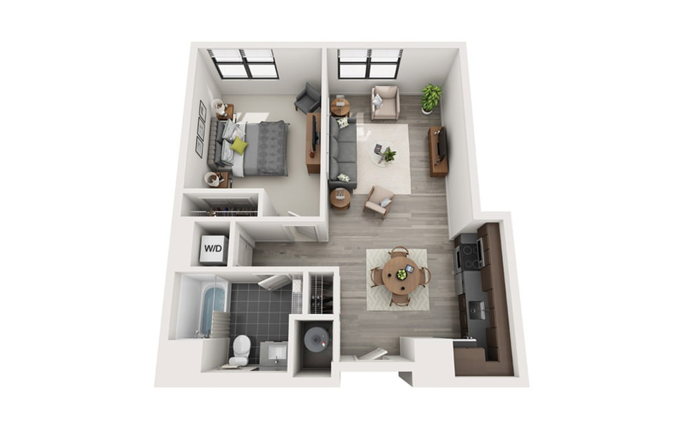 Edge A9 - 1 bedroom floorplan layout with 1 bath and 693 square feet.