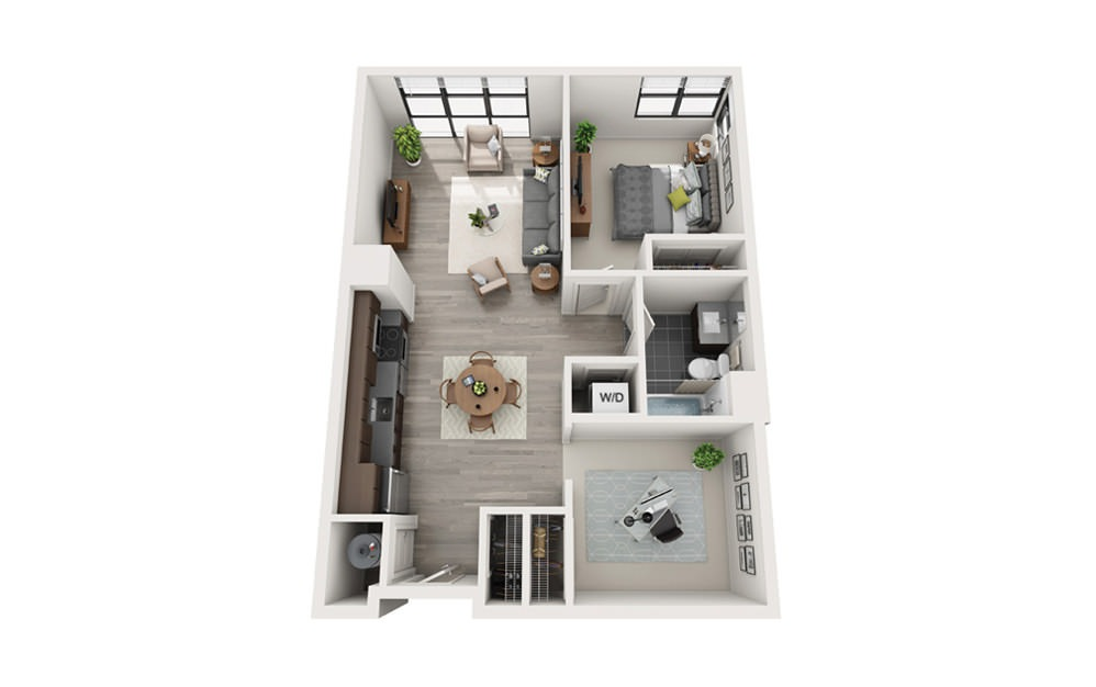 Edge B1 - 1 bedroom floorplan layout with 1 bath and 808 square feet.
