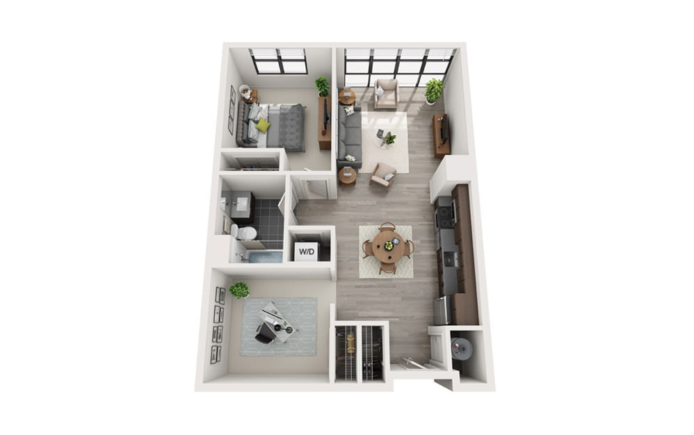Edge B2 - 1 bedroom floorplan layout with 1 bath and 814 square feet.
