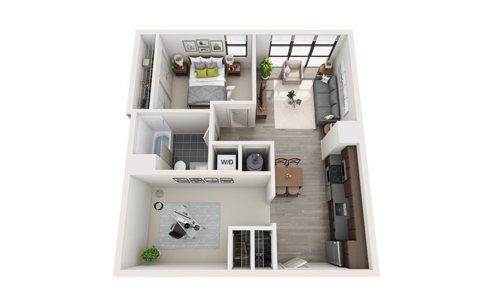 Edge B3 - 1 bedroom floorplan layout with 1 bath and 743 square feet.