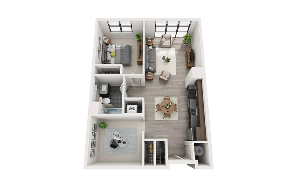 Edge B4-B5 - 1 bedroom floorplan layout with 1 bath and 813 to 815 square feet.