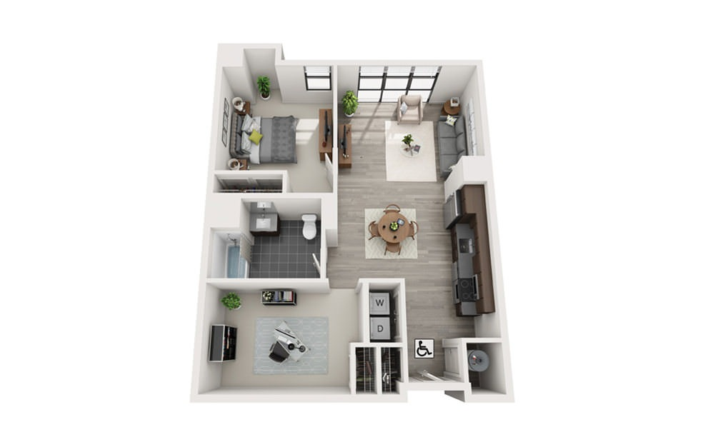 Edge B7 - 1 bedroom floorplan layout with 1 bath and 918 square feet.