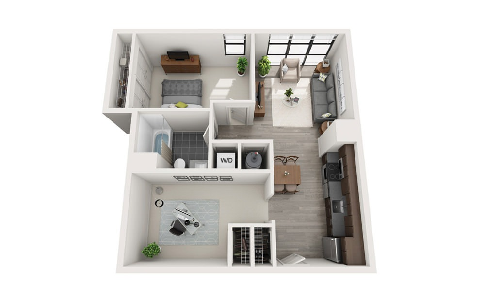 Edge B9 - 1 bedroom floorplan layout with 1 bath and 776 square feet.