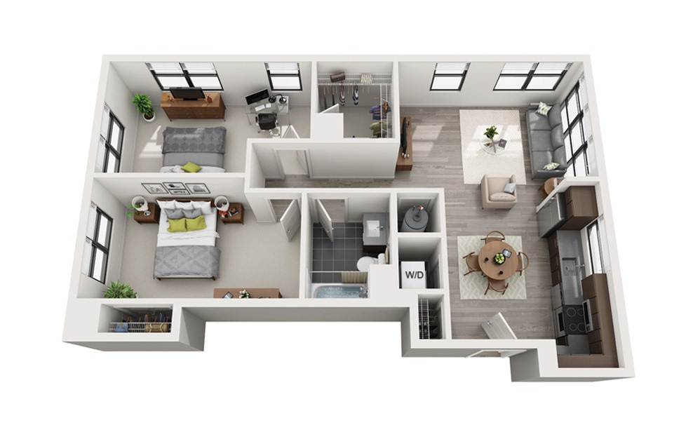 Edge C1 - 2 bedroom floorplan layout with 1 bath and 932 square feet.
