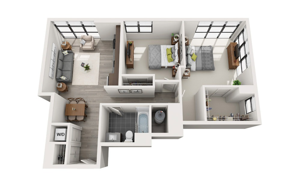 Edge C10 - 2 bedroom floorplan layout with 1 bath and 919 square feet.