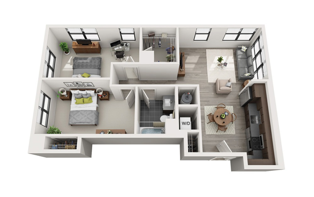 Edge C2 - 2 bedroom floorplan layout with 1 bath and 906 square feet.