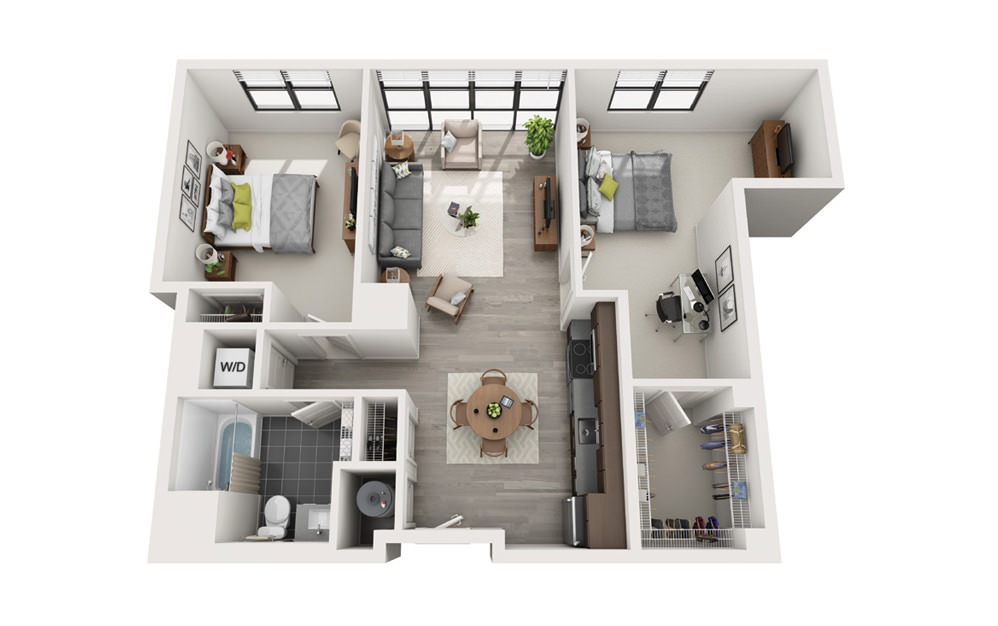 Edge C3 - 2 bedroom floorplan layout with 1 bath and 967 square feet.