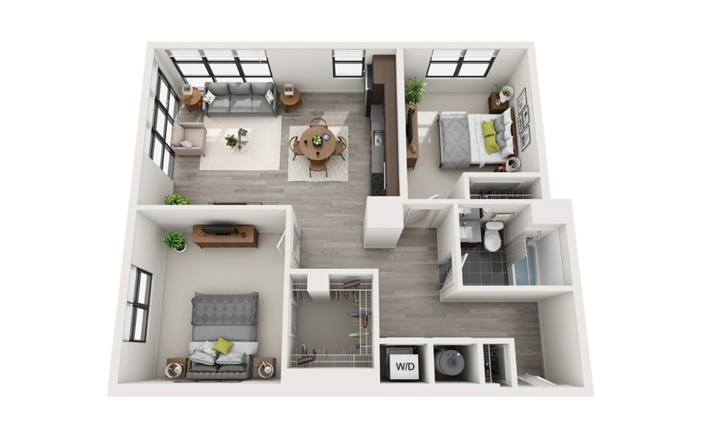 Edge C5 - 2 bedroom floorplan layout with 1 bath and 966 square feet.