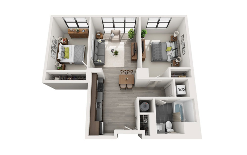 Edge C6 - 2 bedroom floorplan layout with 1 bath and 813 square feet.