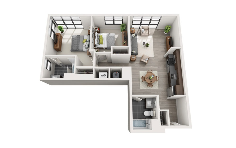 Edge C7 - 2 bedroom floorplan layout with 2 baths and 974 square feet.
