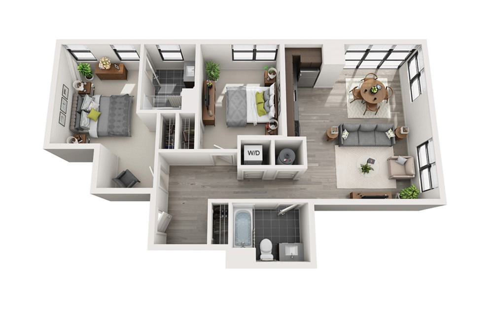 Edge C8 - 2 bedroom floorplan layout with 2 baths and 935 square feet.