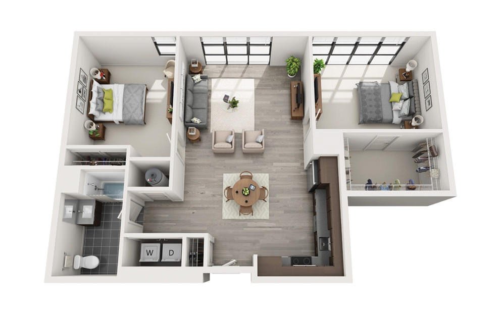 Edge C9 - 2 bedroom floorplan layout with 1 bath and 1114 square feet.
