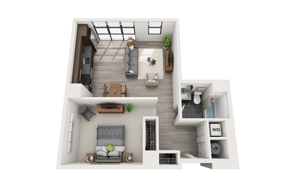 Edge S1 - Studio floorplan layout with 1 bath and 713 square feet.