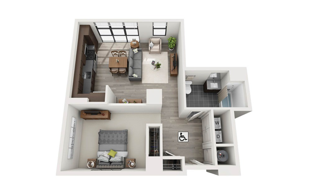 Edge S2 - Studio floorplan layout with 1 bath and 765 square feet.