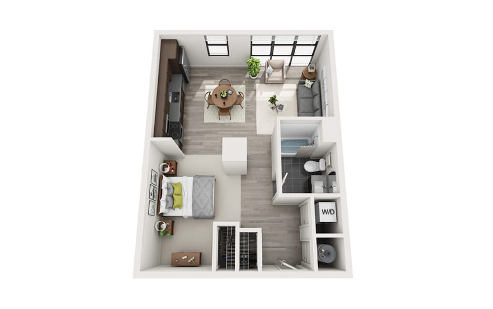 Edge S3 - Studio floorplan layout with 1 bath and 610 square feet.