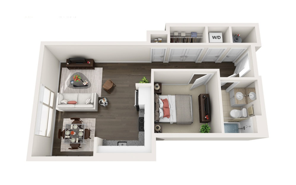 Element A2 - 1 bedroom floorplan layout with 1 bath and 619 square feet.
