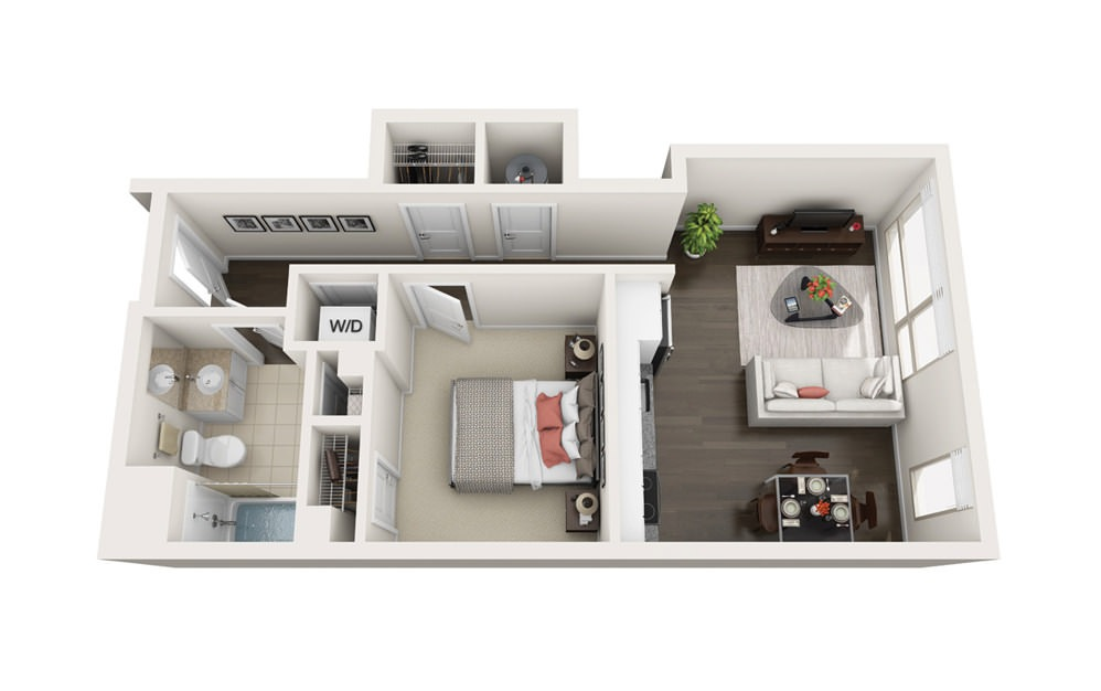 Element A3 - 1 bedroom floorplan layout with 1 bath and 564 square feet.
