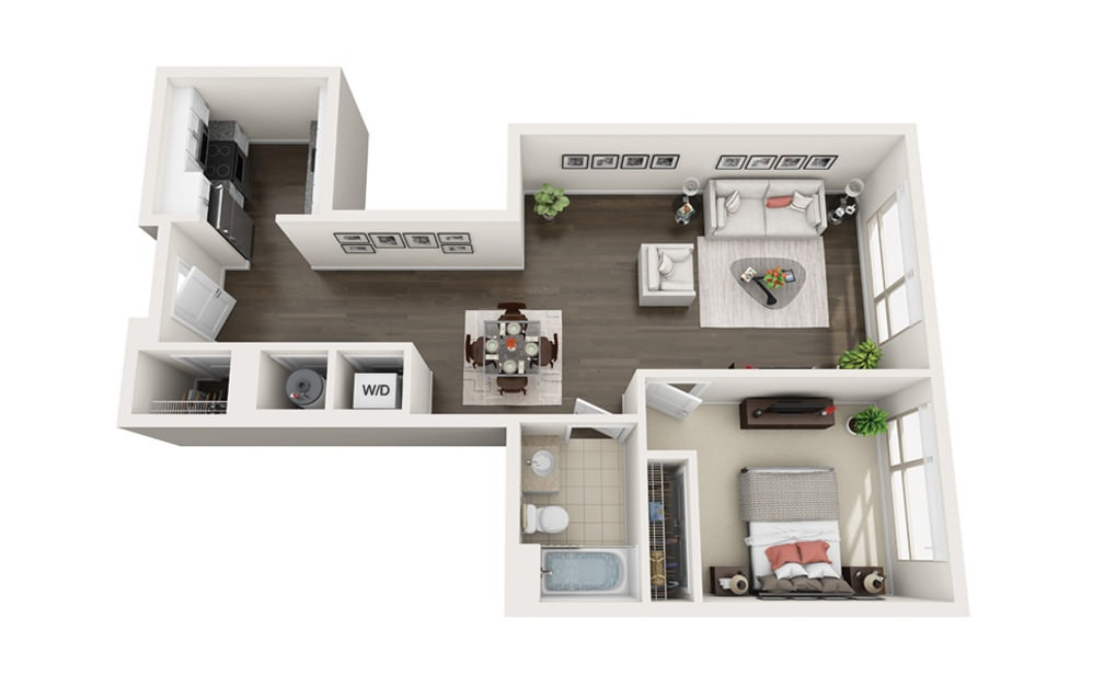 Element A4 - 1 bedroom floorplan layout with 1 bath and 794 square feet.