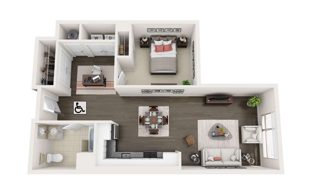 Element A5.HC - 1 bedroom floorplan layout with 1 bath and 863 square feet.